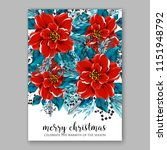 scarlet red floral poinsettia... | Shutterstock .eps vector #1151948792