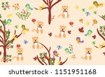 cute cat with little birds with ...   Shutterstock .eps vector #1151951168