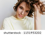 Stock photo studio shot of charming caucasian girl isolated on white background indoor portrait of pretty lady 1151953202