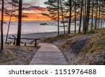wooden footpath leading to a...   Shutterstock . vector #1151976488