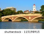 Stock photo john weeks memorial footbridge over the charles river cambridge white tower and red dome of 115198915
