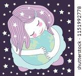 cute little girl hugging the... | Shutterstock .eps vector #1151992778