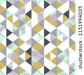 memphis geometric palm leaves... | Shutterstock .eps vector #1151994035