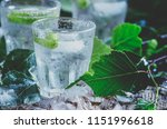 cold russian vodka on birch... | Shutterstock . vector #1151996618