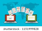 file transfer. two laptops with ... | Shutterstock .eps vector #1151999828