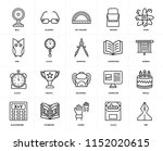 set of 20 icons such as pen ...