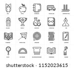 set of 20 icons such as marker  ...