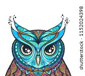 owl with tribal ornament. hand... | Shutterstock .eps vector #1152024398