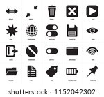 set of 20 icons such as push...