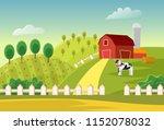cartoon  farm landscape field... | Shutterstock . vector #1152078032