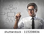 Businessman drawing a diagram - stock photo