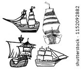 a set of sketches of ships with ... | Shutterstock .eps vector #1152092882