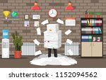 stressed businessman under pile ... | Shutterstock .eps vector #1152094562