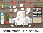 stressed businessman under pile ... | Shutterstock .eps vector #1152094568