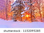 winter snow forest trees sunset ... | Shutterstock . vector #1152095285