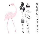 flamingo set. tropical girl... | Shutterstock . vector #1152103532