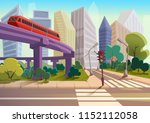 vector cartoon modern city... | Shutterstock .eps vector #1152112058