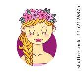 young girl in flower wreath ... | Shutterstock .eps vector #1152126875