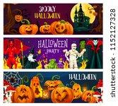 halloween pumpkin and horror... | Shutterstock .eps vector #1152127328