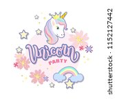 hand sketched unicorn text on... | Shutterstock .eps vector #1152127442