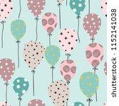 seamless hand drawn balloons... | Shutterstock .eps vector #1152141038