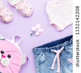 little girl clothes collection...   Shutterstock . vector #1152142208