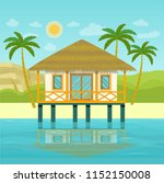 tropical landscape with... | Shutterstock .eps vector #1152150008