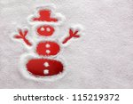 Snowman drawn in the snow with red background - stock photo