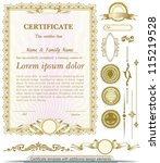 gold vertical certificate... | Shutterstock .eps vector #115219528