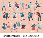 various people at park... | Shutterstock .eps vector #1152203015