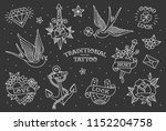 old schoo tattoo elements... | Shutterstock .eps vector #1152204758