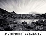 high contrasted black and white mountain landscape in bulgarian mountain Rila - stock photo