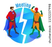super heroes in confident poses ... | Shutterstock .eps vector #1152237998