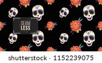 mexican female sugar skull and... | Shutterstock .eps vector #1152239075