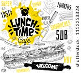lunch time cafe restaurant menu.... | Shutterstock .eps vector #1152253328