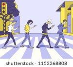 the people an across crosswalk... | Shutterstock .eps vector #1152268808