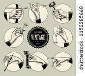 set of round icons in vintage... | Shutterstock . vector #1152285668