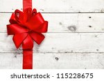 decorative red ribbon and bow... | Shutterstock . vector #115228675