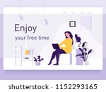 a girl sitting on the sofa... | Shutterstock .eps vector #1152293165