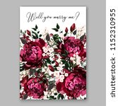 marsala dark red peony wedding... | Shutterstock .eps vector #1152310955