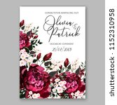 marsala dark red peony wedding... | Shutterstock .eps vector #1152310958