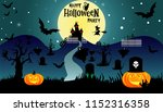 halloween illustration with... | Shutterstock .eps vector #1152316358