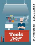 salesman in tools shop interior ... | Shutterstock .eps vector #1152322565