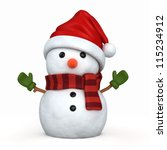 3d Render Of A Snowman Wearing...