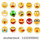 large set of smiles  emoticons... | Shutterstock . vector #1152350042