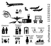 airport sign  airport icons set. | Shutterstock .eps vector #1152350312