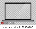 realistic dark grey notebook... | Shutterstock .eps vector #1152386108