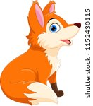 cute cartoon fox sitting and... | Shutterstock .eps vector #1152430115