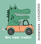 cute crocodile driving vector... | Shutterstock .eps vector #1152439205