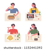 people who eat a variety of... | Shutterstock .eps vector #1152441392